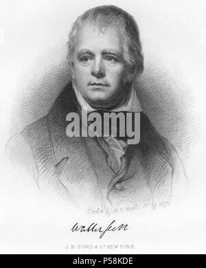 Sir Walter Scott (1771-1832), Scottish Historical Novelist, Playwright and Poet, Head and Shoulders Portrait, Etching by H.B. Hall, 1876 - Stock Photo