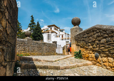 Ronda, Spain, April 05, 2018: route to the ruins of the Arab baths in town of Ronda, Andalusia, Spain - Stock Photo