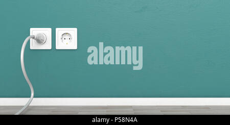 Two white electric sockets and a power plug isolated on green wall background, copy space. 3d illustration - Stock Photo