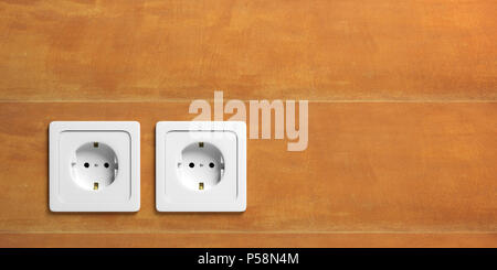 Two white electric power sockets isolated on stucco wall background, copy space. 3d illustration - Stock Photo