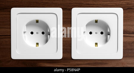 Two white electric power sockets isolated on wooden background, front view. 3d illustration - Stock Photo