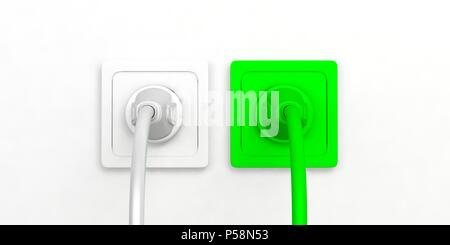 Green energy concept. Electric power plugs and sockets isolated on white background. 3d illustration - Stock Photo