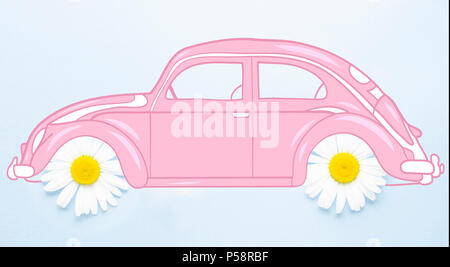 Creative concept photo of illustrated car beetle with chamomile flowers wheels on blue background. - Stock Photo