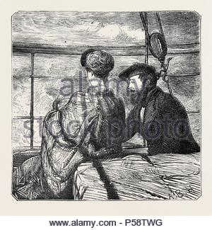 ON THE ATLANTIC STEAMER: MOONSHINE, 1870. - Stock Photo