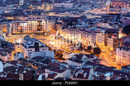 Aerial view of Lisbon, Portugal - Stock Photo