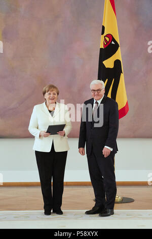 Berlin, Germany - Appointment of Federal Chancellor Dr. Ing. Angela Merkel by the Federal President Frank-Walter Steinmeier in the Great Hall of Bellevue Palace. - Stock Photo