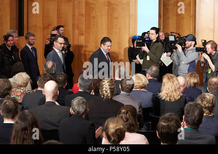 Berlin, Germany - Sigmar Gabriel and Heiko Maas at the official handover in the World Hall of the Foreign Ministry. - Stock Photo