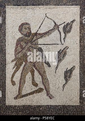 Heracles killing the Stymphalian Birds. Labours of Heracles depicted in the Roman mosaic dated from the 3rd century AD from Llíria (Valencia Province, Spain) on display in the National Archaeological Museum (Museo Arqueológico Nacional) in Madrid, Spain. - Stock Photo