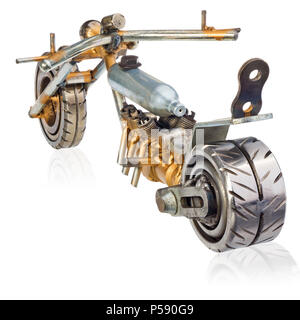 Handmade miniature of a chopper motorcycle. Decorative vehicle made of mechanical parts, bearings, wires, car candles, screws, plates. Toy in silver-g - Stock Photo