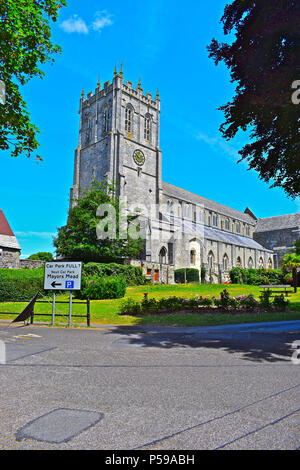 The impressive church known as Christchurch Priory is one of the longest Parish churches in the country, longer than many cathedrals! - Stock Photo