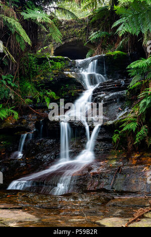 A long exposure of Leura Cascades in the Blue Mountains New South Wales on 13th June 2018 - Stock Photo