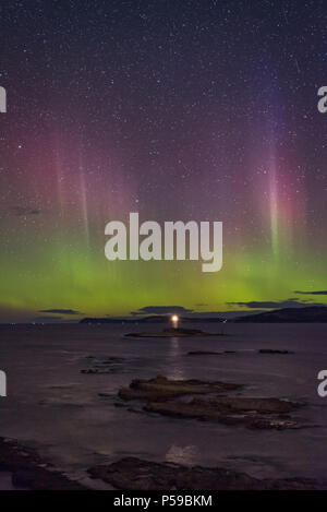 Southern Lights over the Iron Pot Lighthouse - Stock Photo