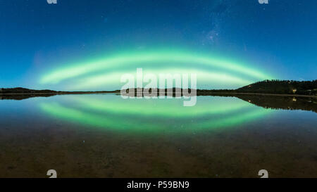 Double Arc Aurora with Reflection - Stock Photo