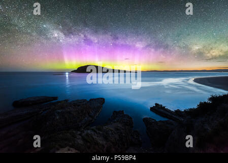 Blue Hour Aurora over Betsey Island - Stock Photo