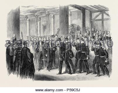 RECEPTION OF THE BELGIANS BY THE LORD MAYOR AT GUILDHALL, LONDON, UK, 1867. - Stock Photo