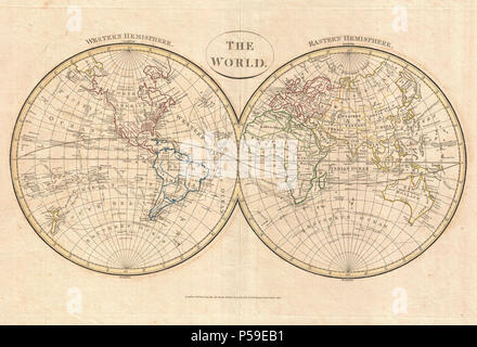 1799 Cruttwell Map of the World in Hemispheres - Geographicus - WorldHemisphere-cruttwell-1799. - Stock Photo