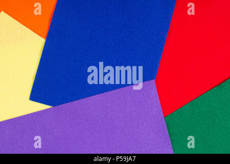 Colorful felt background. Top viie of different colors of felt - Stock Photo