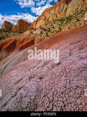Bentonite Hills, Circle Cliffs, Grand Staircase-Escalante National Monument, Utah - Stock Photo