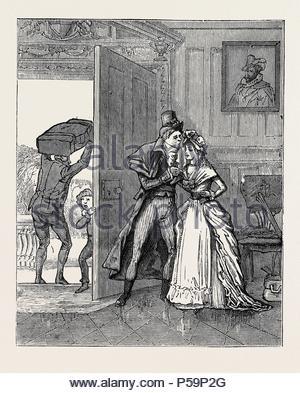 HOW I JOINED THE HUNDRED-AND-FIFTIETH, A REMINISCENCE OF THE EIGHTEENTH CENTURY: Sad Parting with Cousin Louisa. - Stock Photo