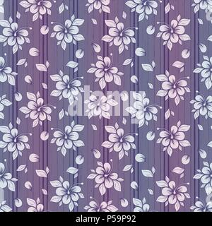 Delicate flower pattern in pastel purple and white tones with gradient, seamless vector as a fabric texture - Stock Photo