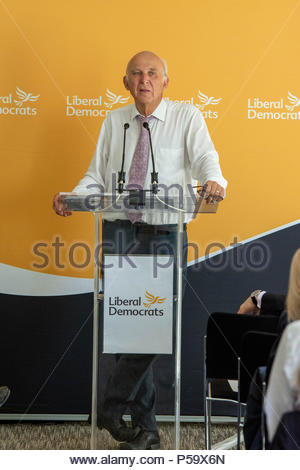 London, UK. 26th June, 2018. The Leader of the Liberal Democrats, Vince Cable, will made a keynote speech outlining his approach to solving the housing crisis at The Royal Institute of British Architects.  Credit: David Nash/Alamy Live News - Stock Photo