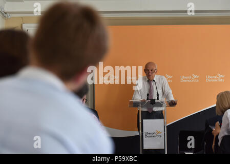 RIBA, London, UK. 26th June 2018. Vince Cable MP leader of the Liberal Democrats giving a keynote speech at RIBA outlining his approach to solving the housing crisis. Credit: Matthew Chattle/Alamy Live News - Stock Photo