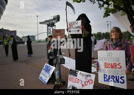 Glasgow, Scotland, UK. 26th June, 2018. Glasgow Against The Arms Fair protest the arrival of arms dealers and hold a Sink the Arms Fair coalition rally at the SEC. Credit: Steven Scott Taylor/Alamy Live News - Stock Photo