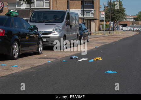 London, United Kingdom. 26 June 2018. A stabbing has occurred in Bounces Road, Edmonton. Credit: Peter Manning/Alamy Live News - Stock Photo