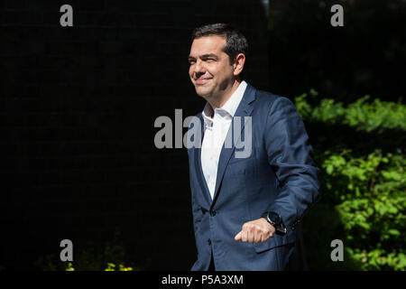 London, UK. 26th June 2018. Greek Prime Minister Alexis Tsipras arrives in Downing Street for a meeting with Prime Minister Theresa May. Credit: Mark Kerrison/Alamy Live News - Stock Photo