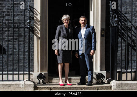 London, UK. 26th June 2018. Prime Minister Theresa May welcomes Greek Prime Minister Alexis Tsipras to 10 Downing Street Credit: Mark Kerrison/Alamy Live News - Stock Photo