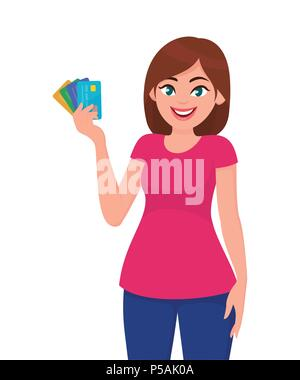 Young woman holding bank credit/debit cards in hand. Business and finance concept vector illustration in cartoon style. - Stock Photo
