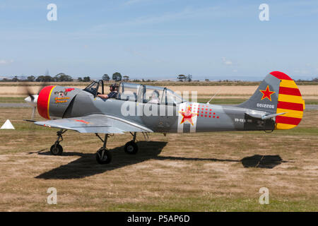 Yakovlev Yak-52W Russian Military trainer aircraft VH-YKW. - Stock Photo
