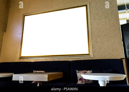 Wall with blank banner in a bar for your advertising - Stock Photo