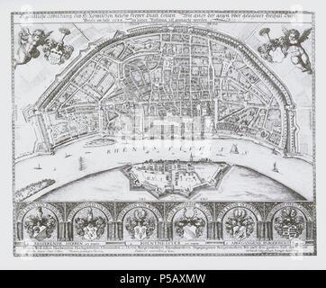 498 Eigentliche Abbildung des H. Römischen Reichs freyer Statt Cöllen (Plan 1633) - Stock Photo
