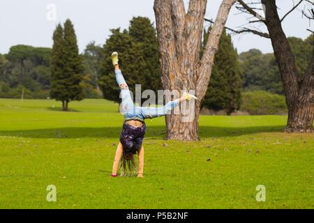 Exercising in open nature environment fit - Stock Photo