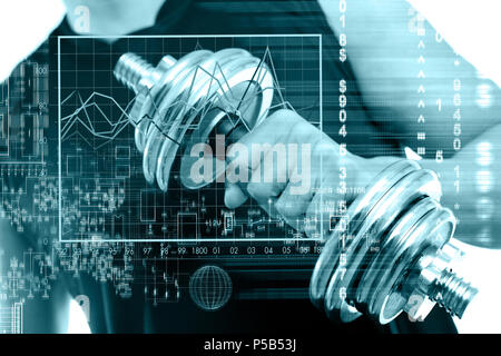 Sport and biometric studies.Technology and healthy science - Stock Photo