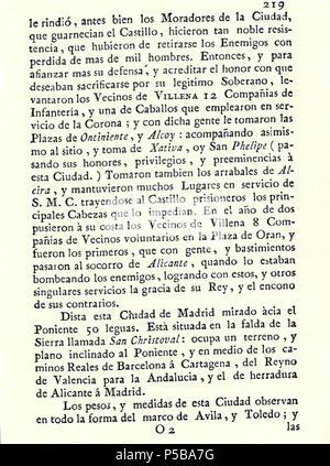 N/A. Español: Es un escaneo de la revista 'Correo General de España' que versa sobre Villena . 1771. Marino Nipho 382 Correo.1771-02-26--219