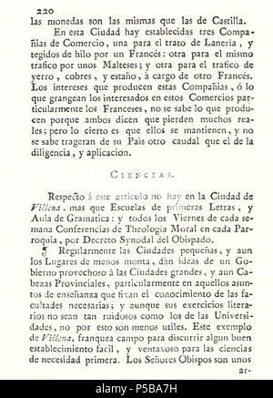 N/A. Español: Es un escaneo de la revista 'Correo General de España' que versa sobre Villena . 1771. Marino Nipho 382 Correo.1771-02-26--220