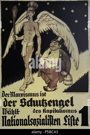 Germany. NSDAP poster for the Reichstag election. November, 1932. Marxism is the guardian angel of capitalism. Vote National Socialist. - Stock Photo