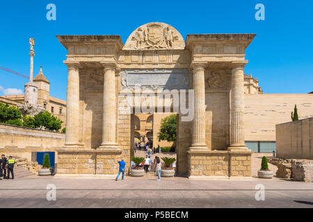 Cordoba Spain, view of the Arco del Triunfo at the entrance to the old city in Cordoba, Andalucia, Spain. - Stock Photo