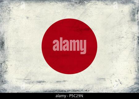Vintage national flag of Japan background - Stock Photo