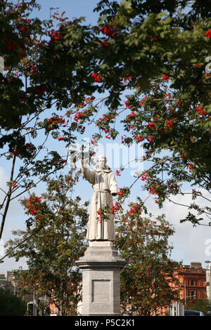 Statue of Father Theobald Mathew ( The Apostle of temperance ) in O'Connell Street created by Mary Redmond inaugurated in 1893, Dublin, Ireland. - Stock Photo