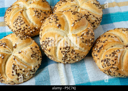 Group of baked bread kaiser, bakery products - Stock Photo