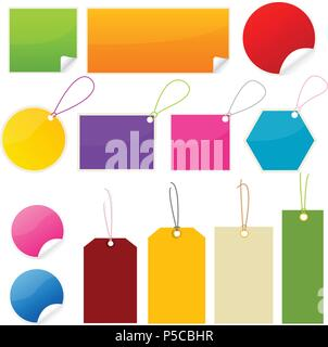 colorful tags and stickers - Stock Photo
