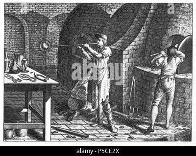N/A. Tab. LV. Handwerke und Künste. d) Das Inwendige einer Glashütte. Der Glasmacher, der vermittelst eines Rohrs einen Klumpen Glas aufbläst. Ein anderer rührt in dem Glasofen; ein dritter wirft Holz ein. Unter dem Tische Schmelztiegel, Scheren, Zangen, Vexirgläser, Glastropfen, eine runde und eine hohe Flasche, ein Bierglas und Weinglas. (Beschreibung lt. Quelle) . 1774.   Daniel Chodowiecki (1726–1801)   Alternative names Daniel Nikolaus Chodowiecki  Description German-Polish painter and printmaker  Date of birth/death 16 October 1726 7 February 1801  Location of birth/death Gdask Berlin