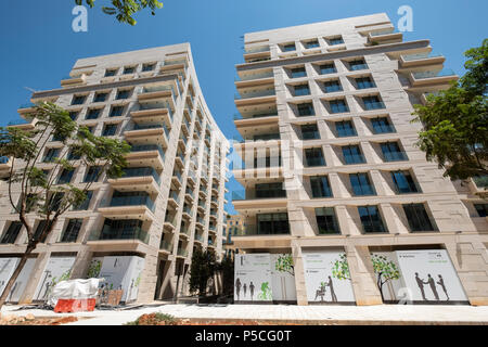 Modern  luxury apartment buildings under construction in central Beirut , Lebanon. - Stock Photo
