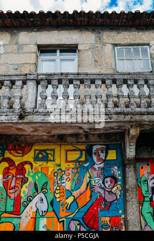 A colourful wall mural in Belmonte, Portugal with a reference to the city's jewish legacy - Stock Photo