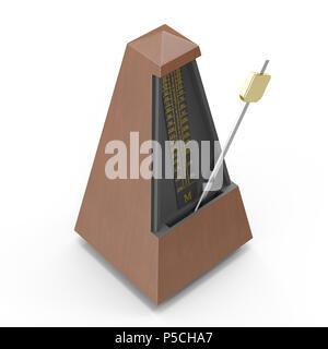 Musical metronome on white. 3D illustration - Stock Photo