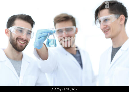 scientists rejoice at the result of their work. - Stock Photo