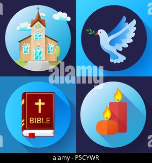 Religion Icons set vector color Flat Design Vector Illustration. Blue dove, old church, candles and bible book - Stock Photo